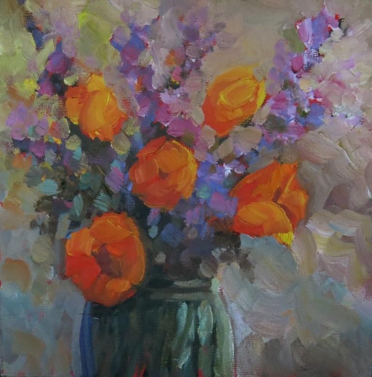 """#84  SUMMER SONG IN FLOWERS"" original fine art by Dee Sanchez"