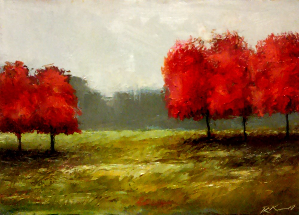 """""""Five Red Trees"""" original fine art by Bob Kimball"""