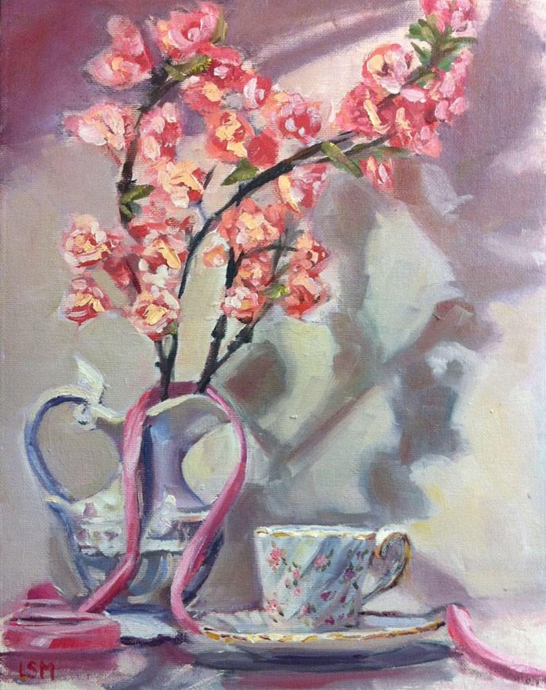 """Cherry Blossoms and Pink Ribbon"" original fine art by Linda Marino"