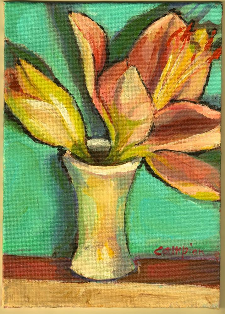 """369 Lilies in a Little White Vase"" original fine art by Diane Campion"