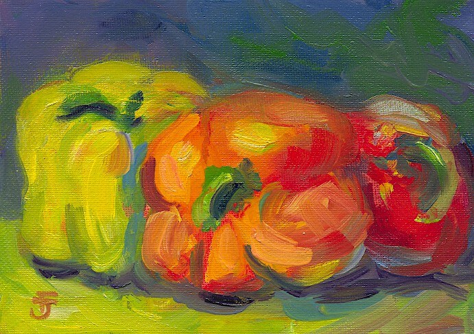 """Fiesta Peppers"" original fine art by Francine Dufour~Jones"