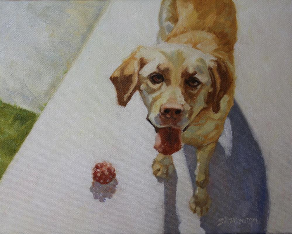 """My Red Ball"" original fine art by Susan Ashmore"