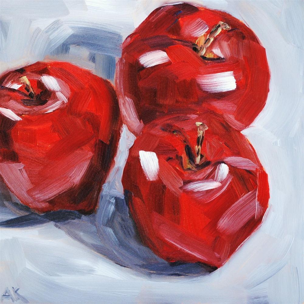 """Three Apples"" original fine art by Alison Kolkebeck"
