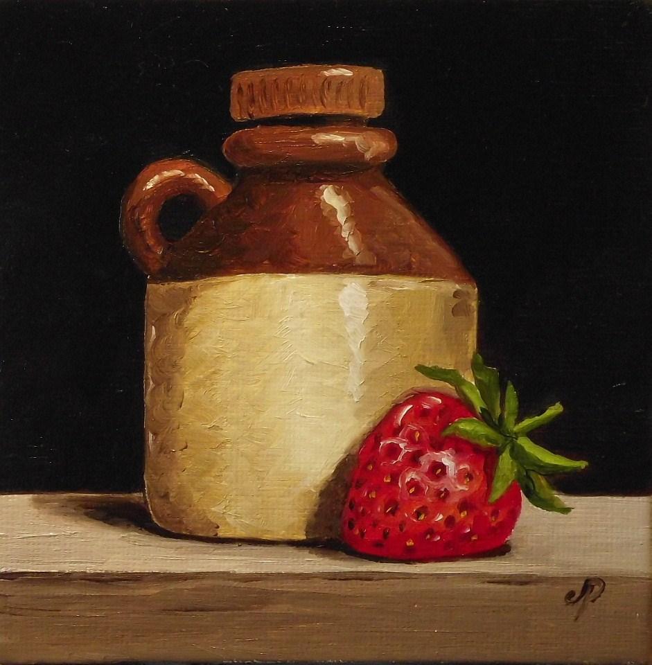 """""""Cider bottle & Strawberry"""" original fine art by Jane Palmer"""
