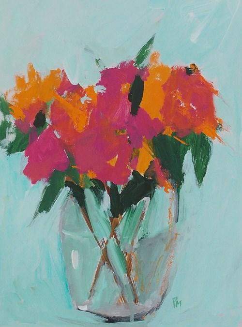 """Orange and Pink Blooms"" original fine art by Pamela Munger"