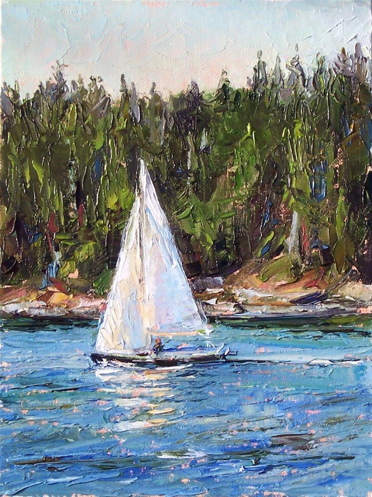 """Sailing off the Islands,seascape,oil on canvas,12x9,price$700"" original fine art by Joy Olney"