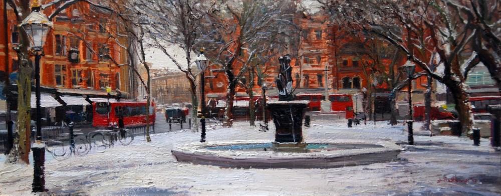 """Sloane Square, in the snow"" original fine art by Adebanji Alade"