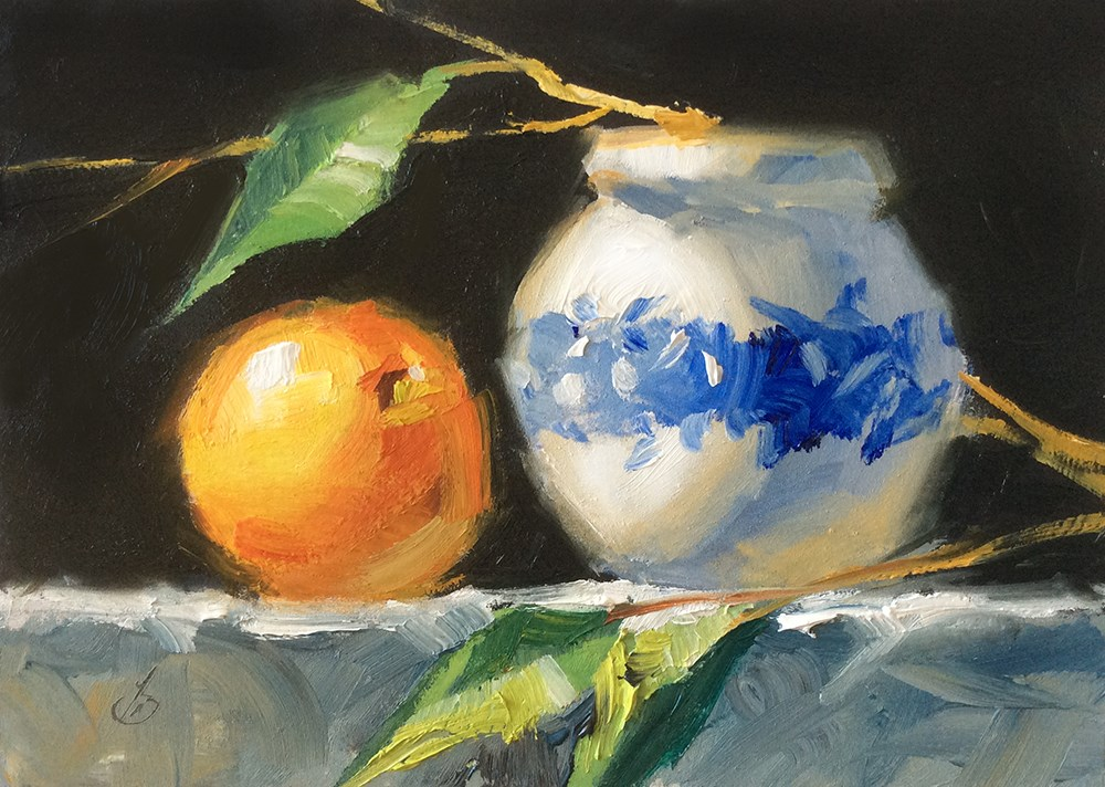 """""""COLORFUL STILL LIFE WITH FRUIT"""" original fine art by Tom Brown"""