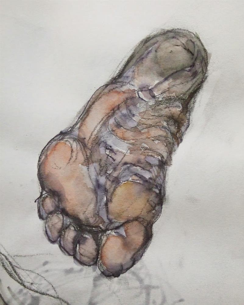 """""""Dirty Foot"""" original fine art by Mitsuru Cope"""