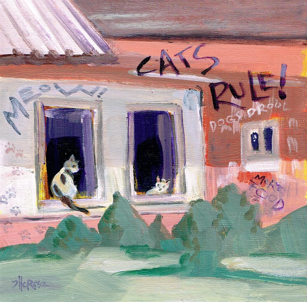 """Cat Grafitti-- DPW Challenge"" original fine art by Theresa Taylor Bayer"