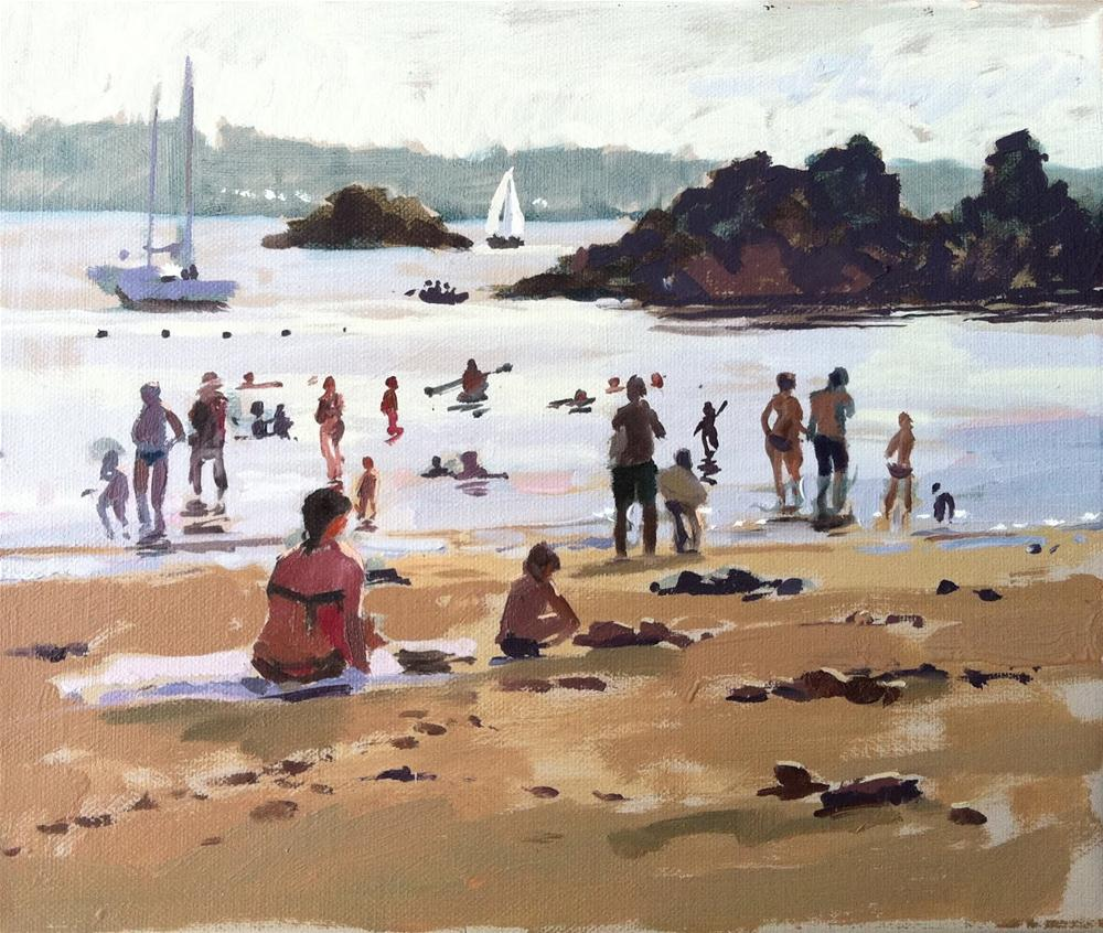 """""""Incoming tide and bathers, Bréhat"""" original fine art by Haidee-Jo Summers ROI"""