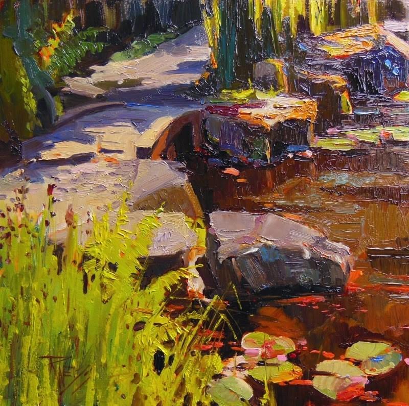 """The Footbridge at Bloedel  plein air, oil. landscape painting by Robin Weiss"" original fine art by Robin Weiss"