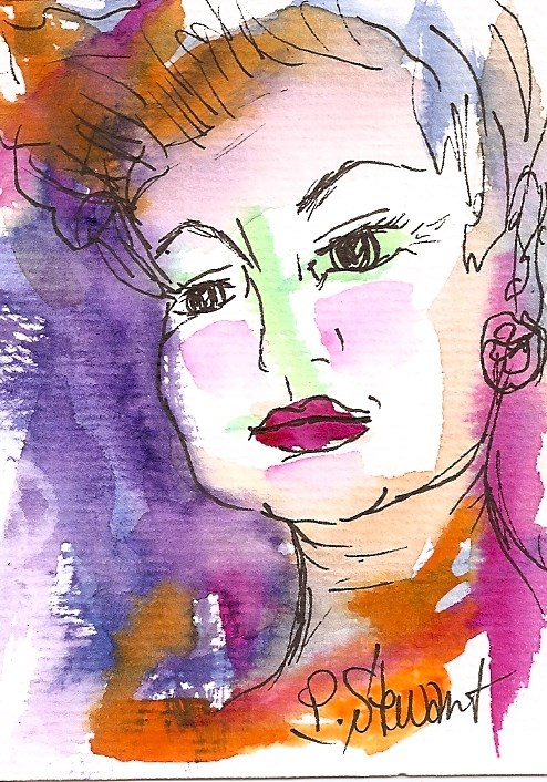 """ACEO:  Retro Mom  Portrait in watercolor and Pen"" original fine art by Penny Lee StewArt"