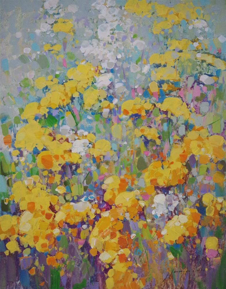 """Yellow Spring Flowers, Original oil Painting, Handmade art, one of a kind"" original fine art by V Y"