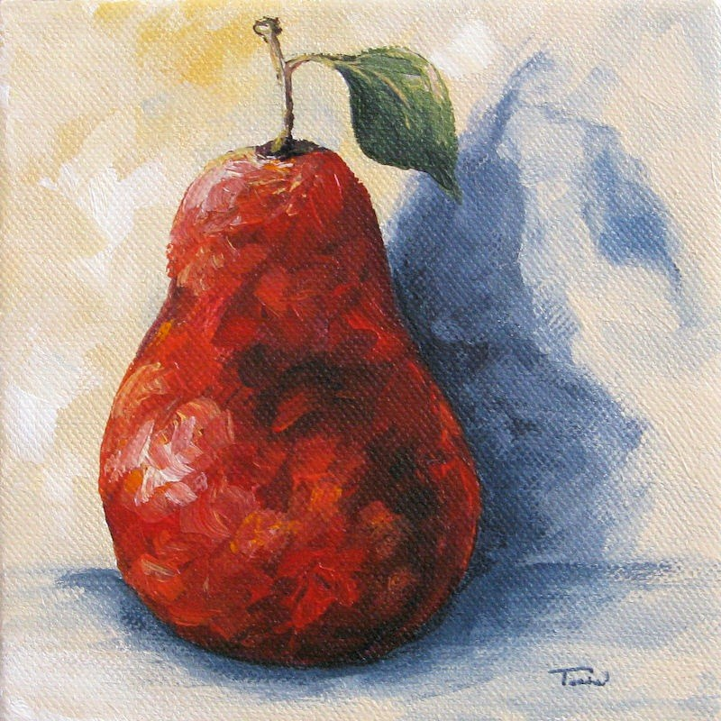 """Red Pear with Shadow"" original fine art by Torrie Smiley"