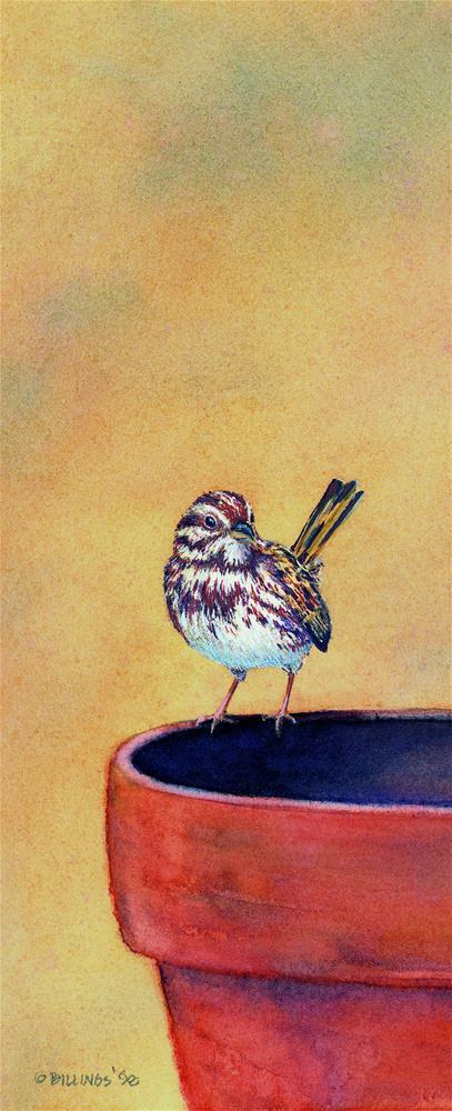 """""""Potted Bird"""" original fine art by Susanne Billings"""