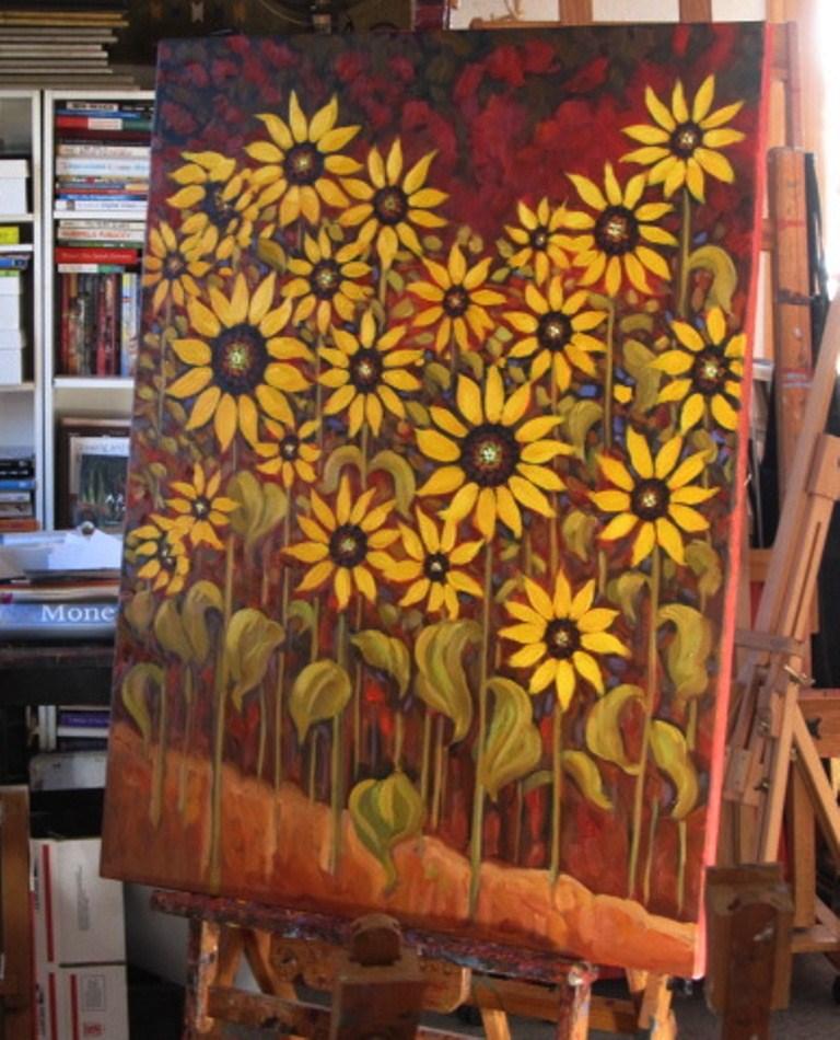 """""""sunflower commission"""" original fine art by Dee Sanchez"""