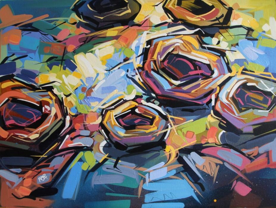 """Bird's Nest Abstraction 52"" original fine art by Roger Akesson"