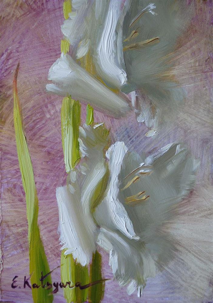 """""""Gladiolus Sketch"""" original fine art by Elena Katsyura"""