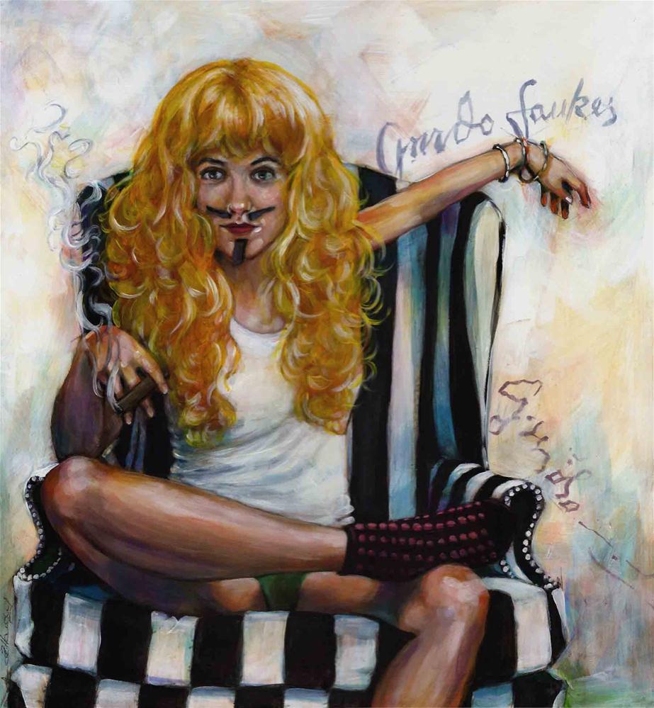 """Ms Wiggy Fawkes"" original fine art by Angela Hardy"