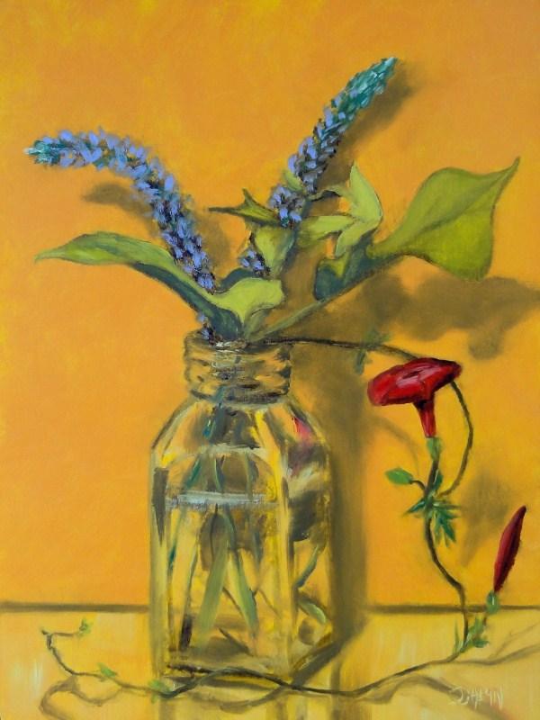 """Cardinal Flower With Sweet Potato Vine"" original fine art by Dalan Wells"