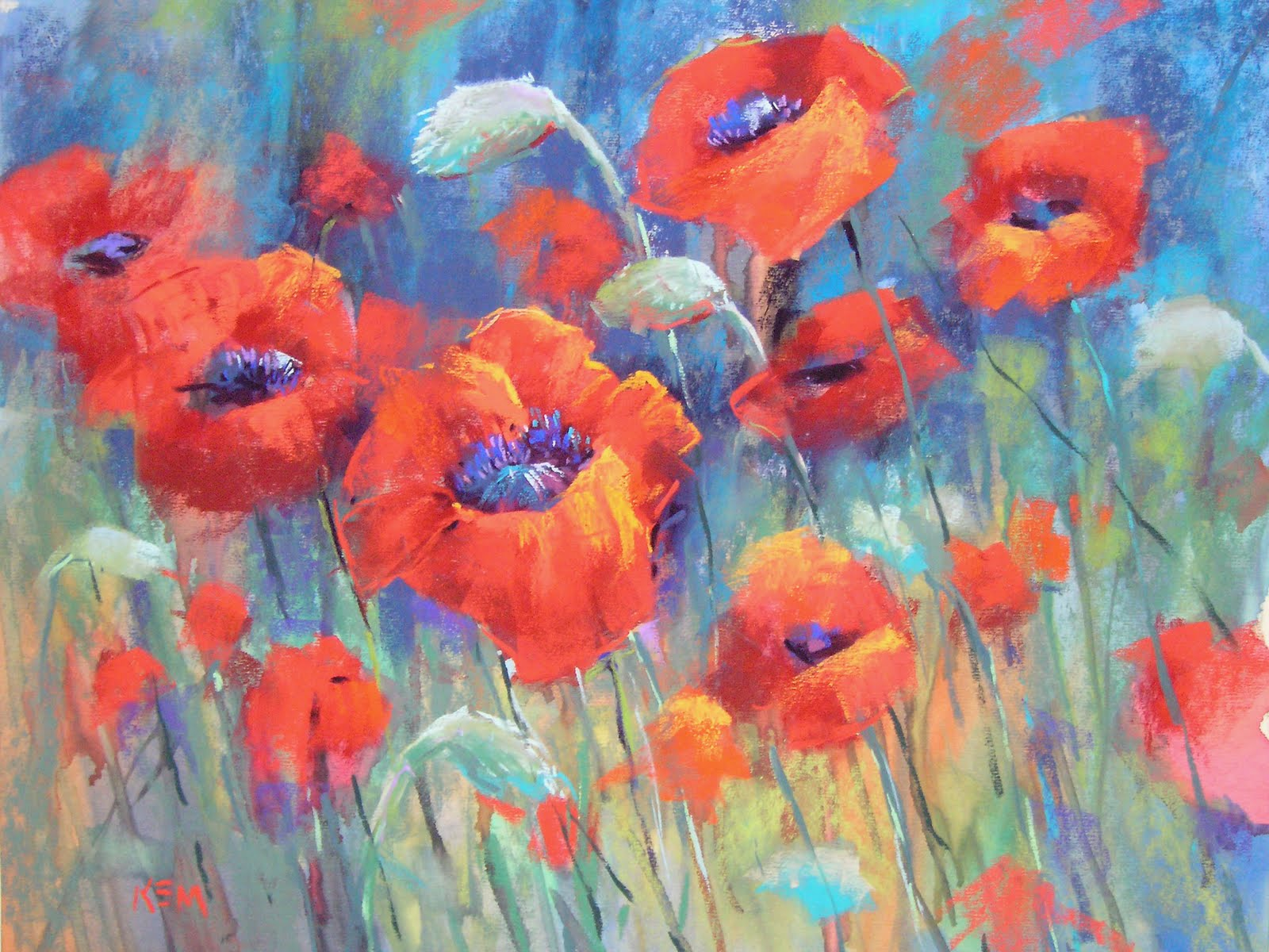 """Poppy Heaven!  16x20 pastel"" original fine art by Karen Margulis"