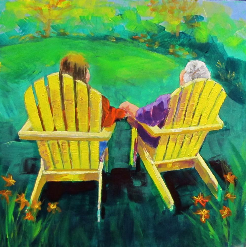 """Together  9x9 acrylic"" original fine art by Christine Holzschuh"