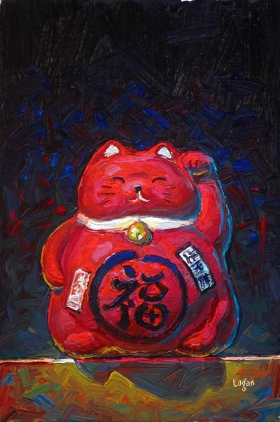 """Little Red Maneki Neko"" original fine art by Raymond Logan"