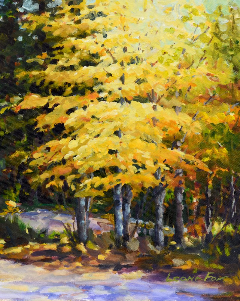"""Fall Aspen"" original fine art by Leona Fox"