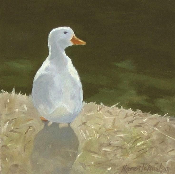 """What's good for the goose...a swim!"" original fine art by Karen Johnston"