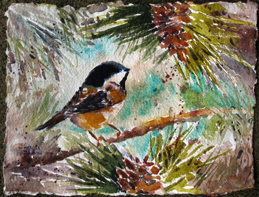 """Chickadee World View"" original fine art by Melissa Gannon"