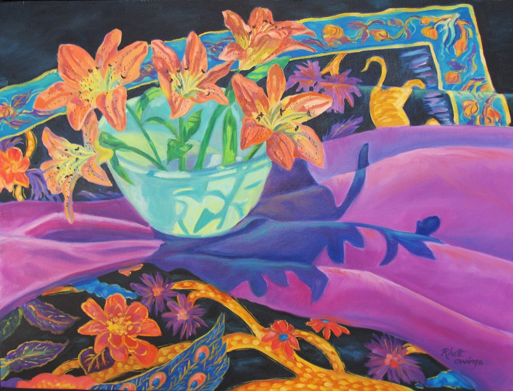 """Silk Flowers, Silk Scarves"" original fine art by Rhett Regina Owings"