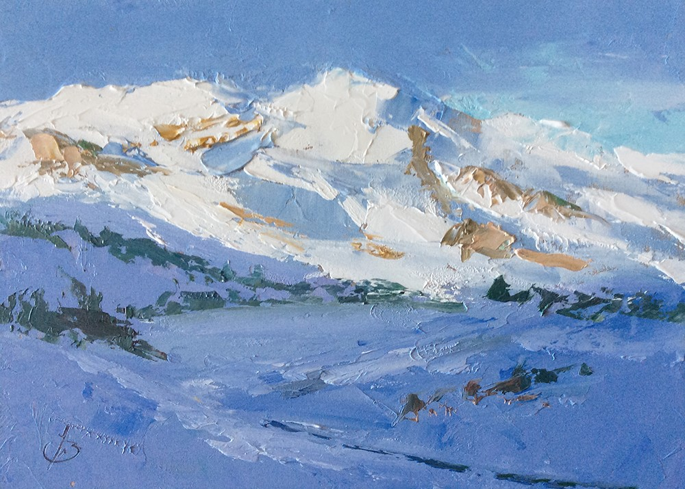 """SNOW ON THE MOUNTAIN"" original fine art by Tom Brown"