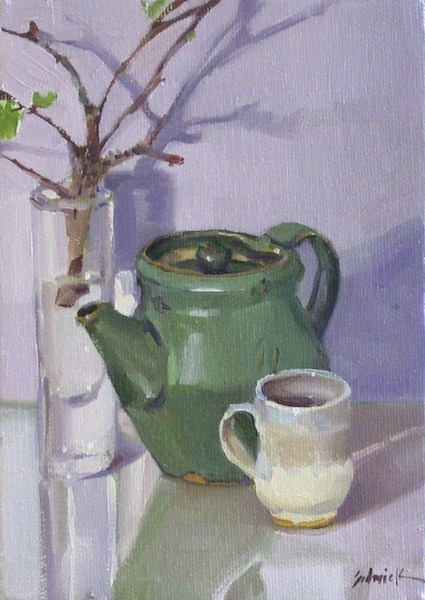 """Green Teapot and Apple Branches still life daily painting mothers day gift"" original fine art by Sarah Sedwick"