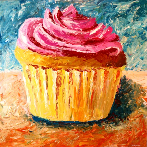 """""""Mark Webster - Giant Cupcake Painting - Acrylic Palette Knife Painting"""" original fine art by Mark Webster"""