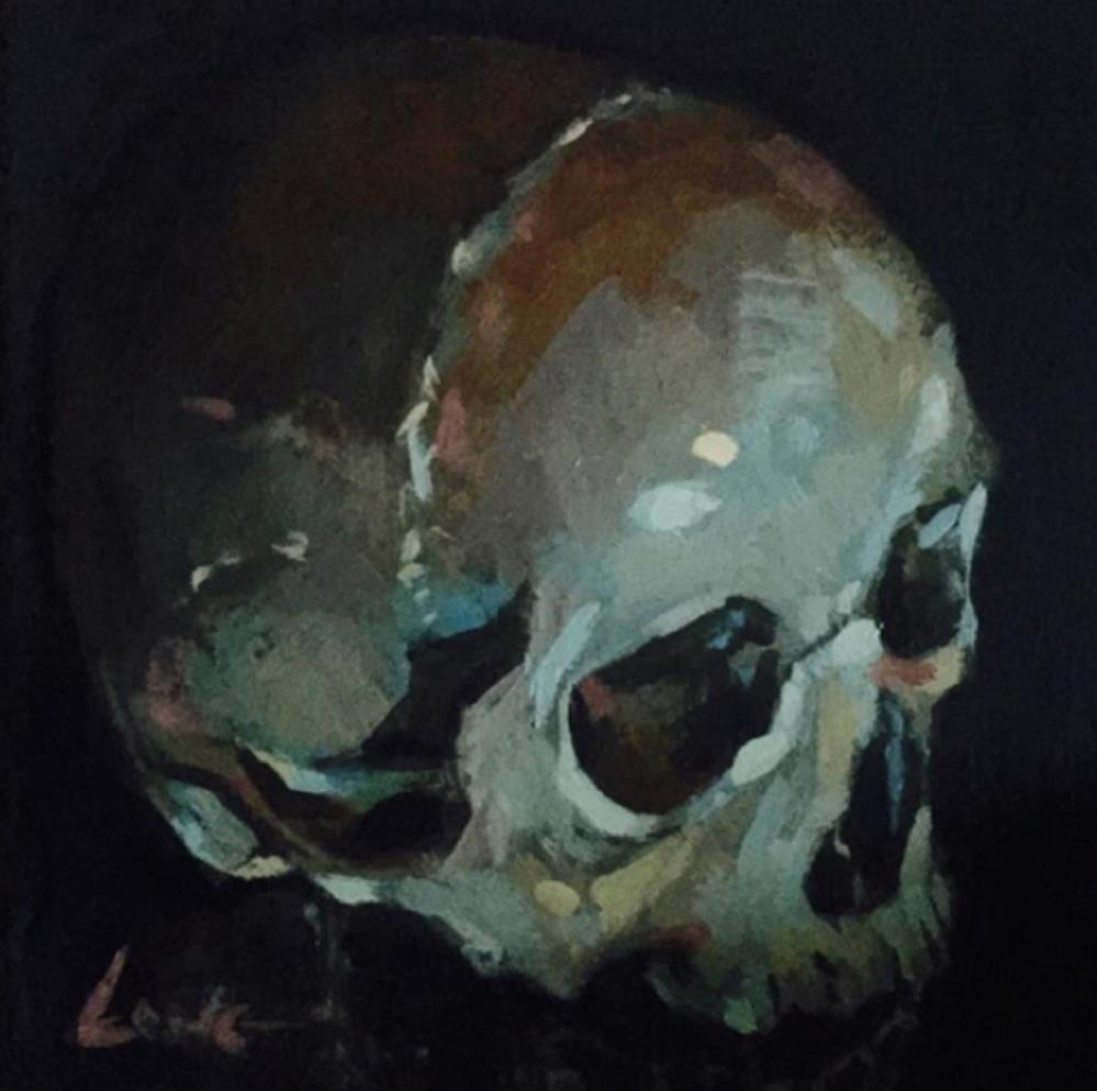 """Skull Study I"" original fine art by Chris Long"