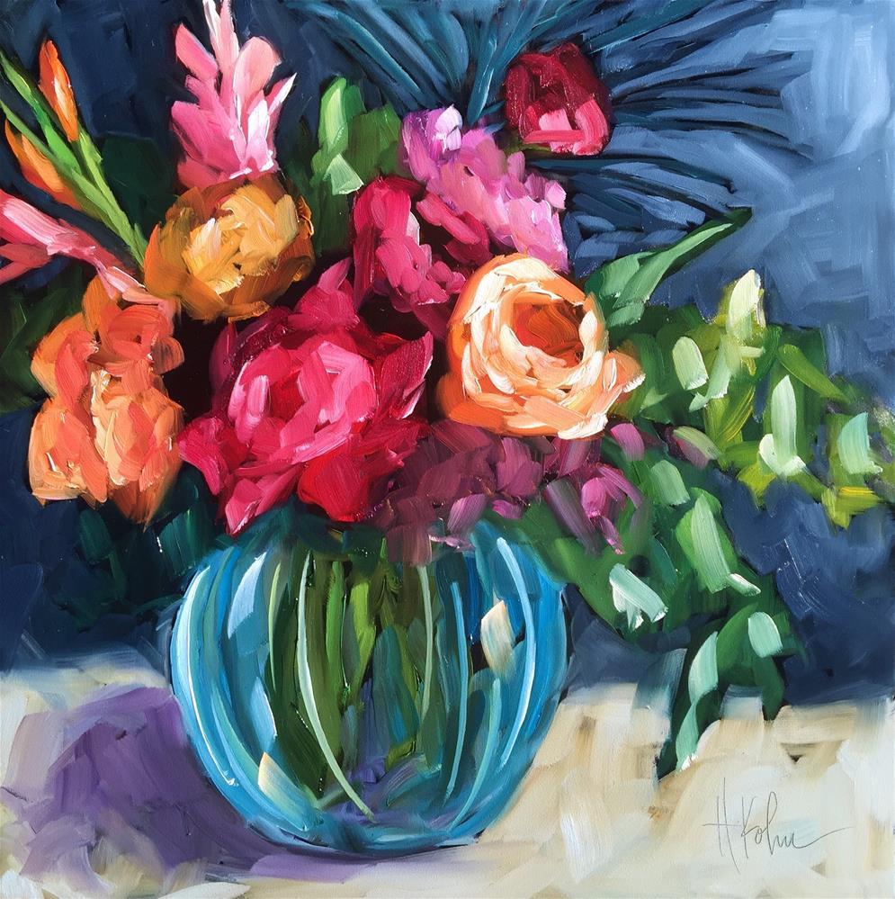 """""""Round Bouquet"""" original fine art by Hallie Kohn"""