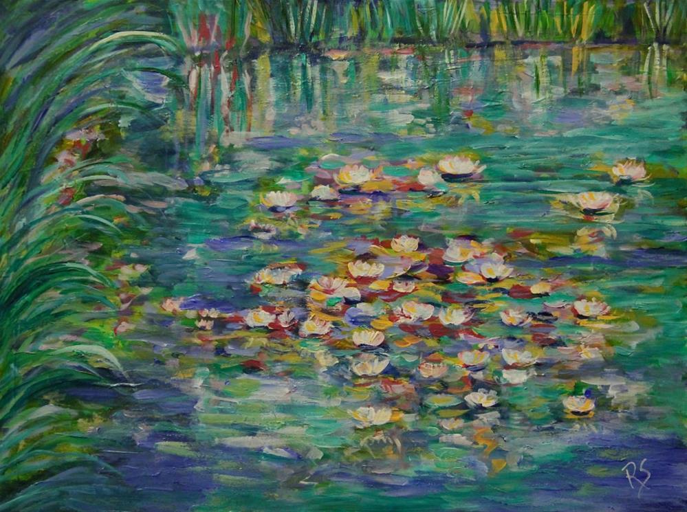 """Water Lilies in the Afternoon"" original fine art by Roberta Schmidt"
