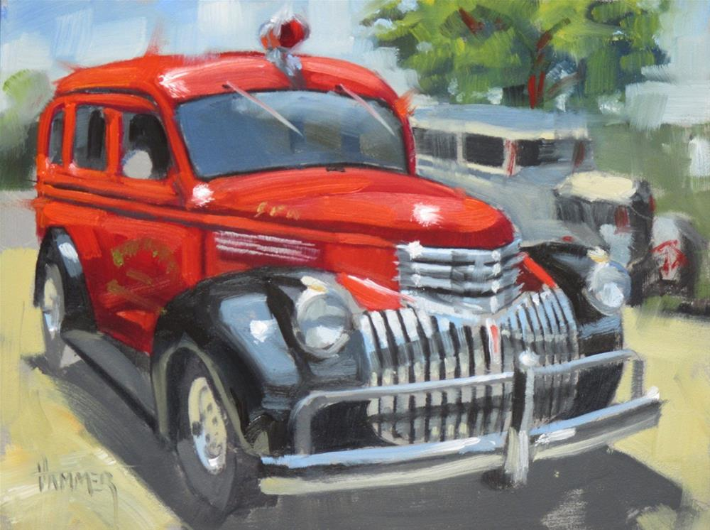 """1946 Chevy Suburban Fire Truck   6in x 8 in   oil"" original fine art by Claudia Hammer"