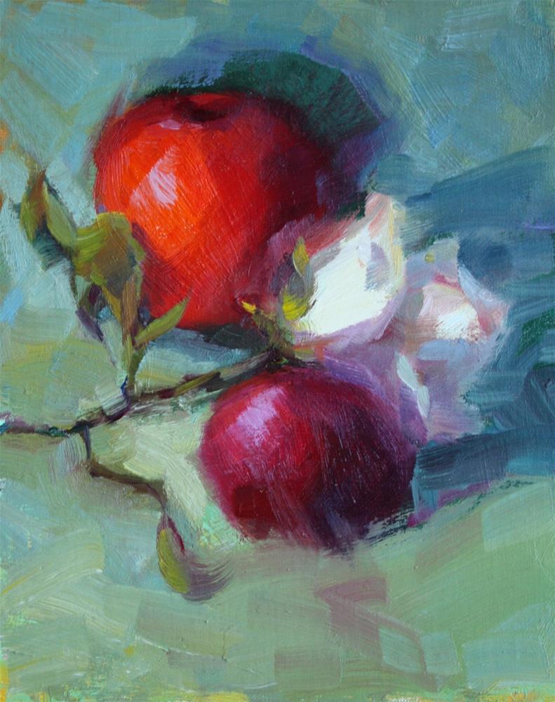 """""""Apple & White Rose"""" original fine art by Carol Myer"""