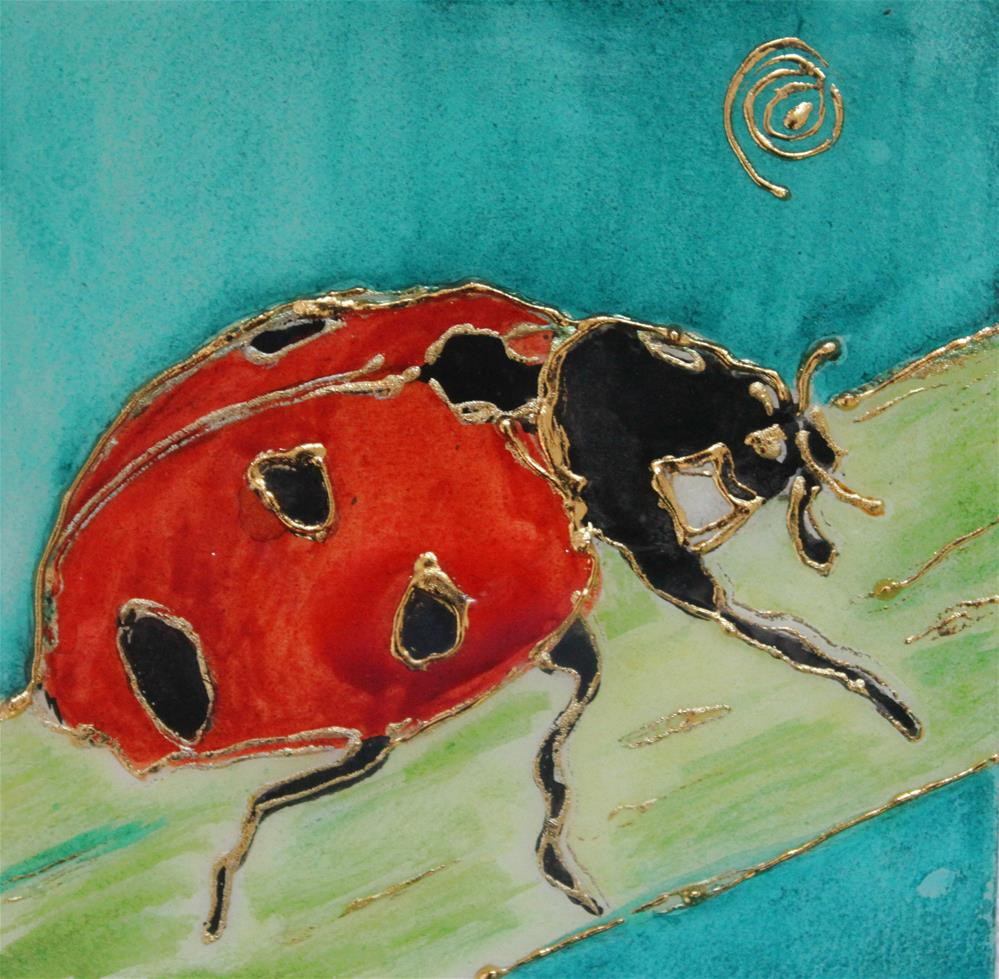 """Natur's Little Gems Miniature: Ladybug M"" original fine art by Christiane Kingsley"