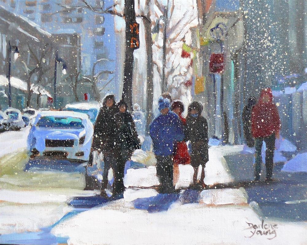 """969 Montreal Snow Scene, Ste Catherine, oil on board, 8x10"" original fine art by Darlene Young"