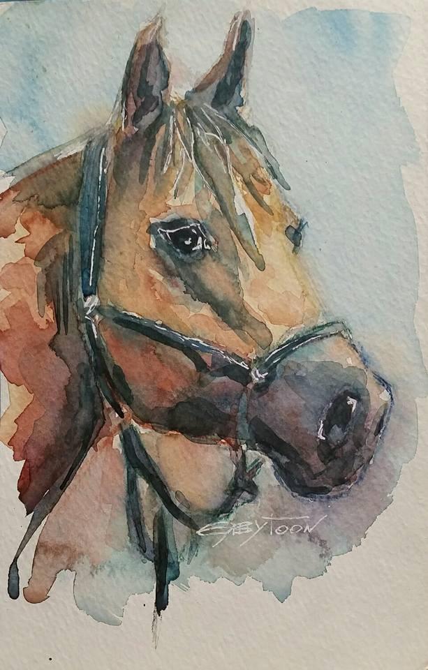 """A Horse"" original fine art by Gabriella DeLamater"