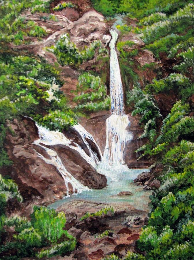 """Waterfall"" original fine art by Nan Johnson"
