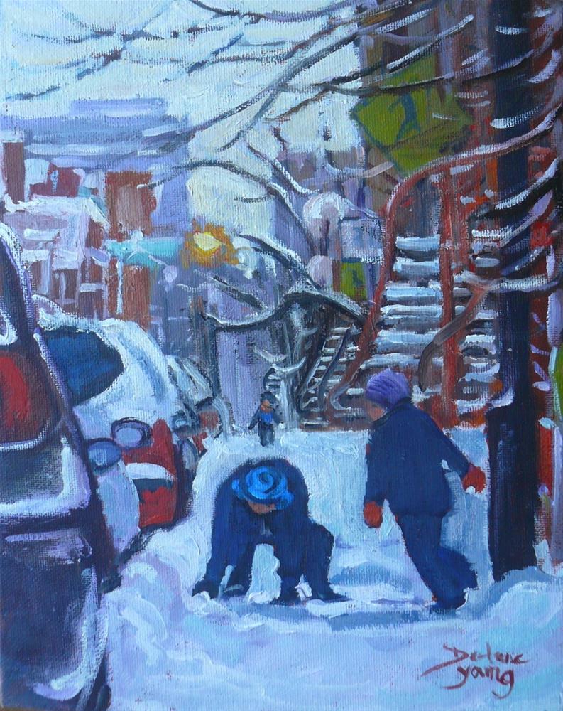 """1012 Le Plateau Kids, 8x10, oil on baord"" original fine art by Darlene Young"