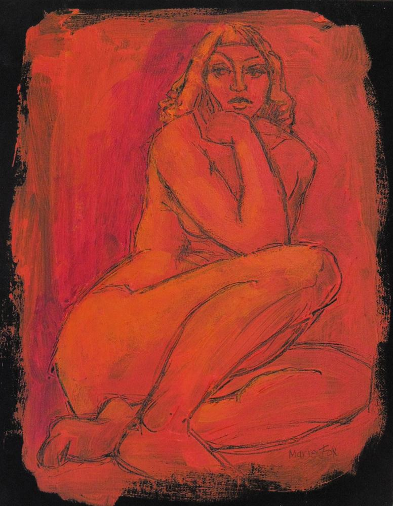 """Nude female figure painting of woman, nu figurativ, figuration, classic nude by Marie Fox, contempor"" original fine art by Marie Fox"