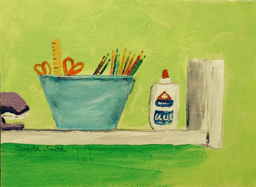 """Supply Shelf"" original fine art by Brenda Smith"
