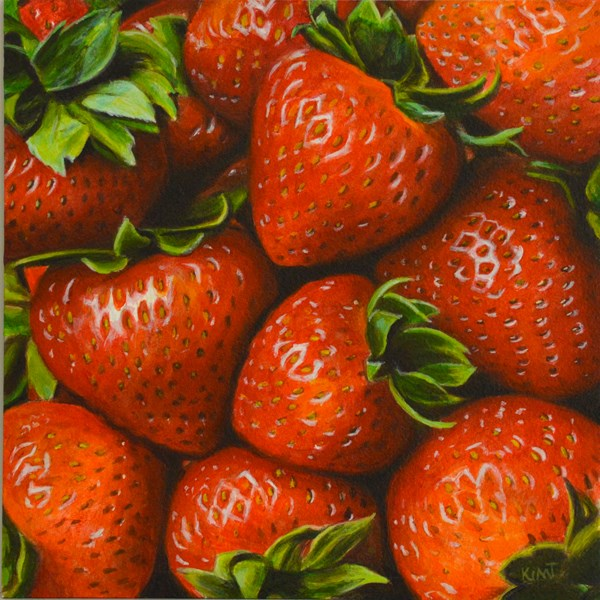 """Summer Strawberries"" original fine art by Kim Testone"