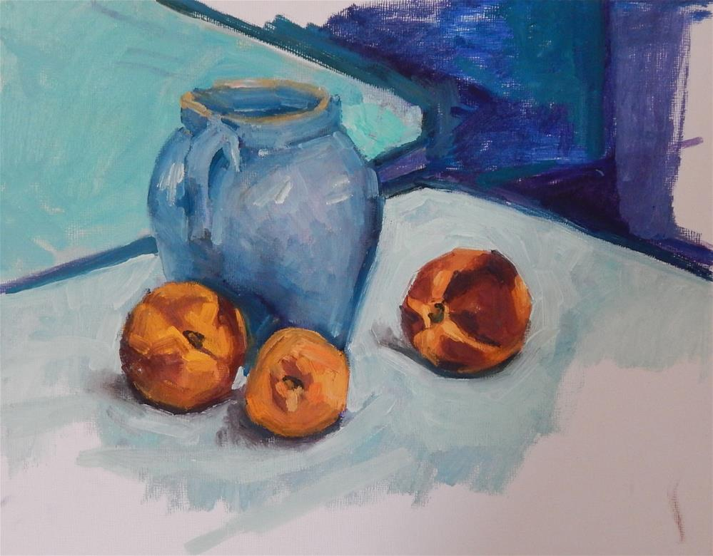 """Unfinished Still Life with Peaches"" original fine art by Megan Schembre"