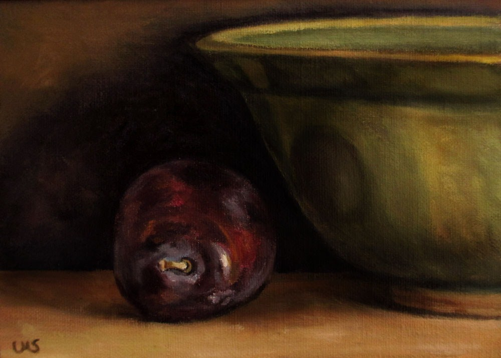 """""""Plum with green Bowl"""" original fine art by Ulrike Miesen-Schuermann"""